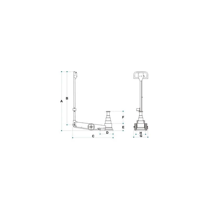 Wagenheber Rangierheber hydropneumatisch pneumatisch 2 Stufen 60/15 t Hubhöhe: 72-230 mm normal