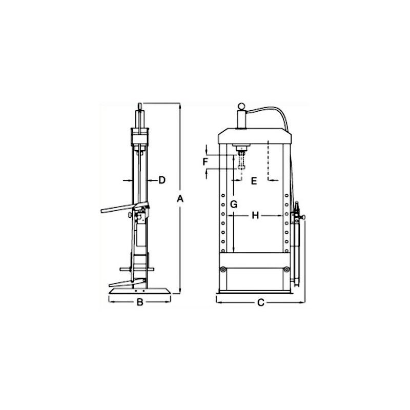 Werkstattpresse Hydraulikpresse, Stand, 100-150 t, automatisch: elektrohydraulisch, 230/400 V, Kolben unbeweglich, Industriequalität, Made in EU