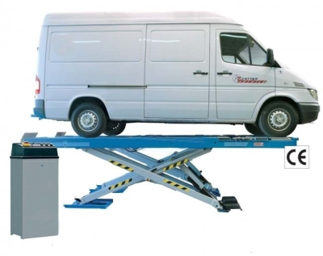Scherenhebebühne für Achsvermessung L: 5500 mm (mit Schiene) Unterflur 5 t mit Radfreiheber und Gelenkspieltester