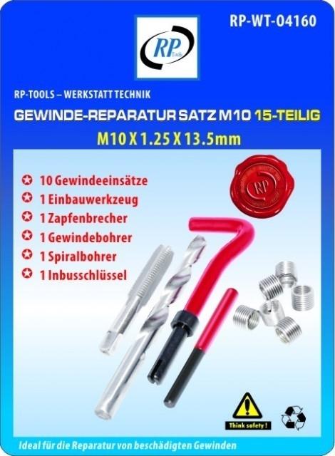 Gewindereparatur Gewinde Reparatur RP-TOOLS M10 x 1.25x 13.5 mm 15-tlg.