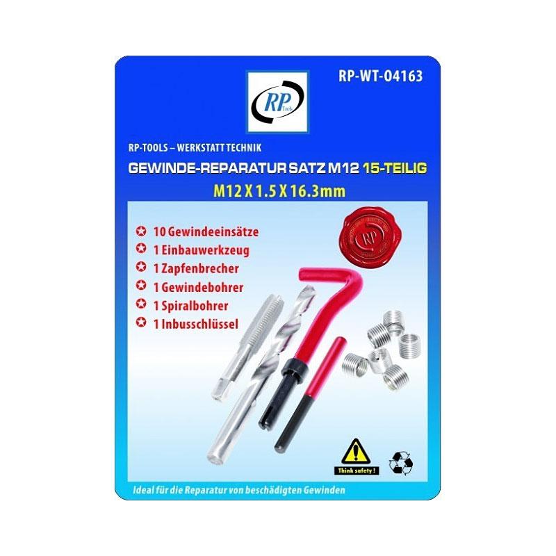Gewindereparatur Gewinde Reparatur RP-TOOLS M12 x 1.5x 16.3 mm 15-tlg.