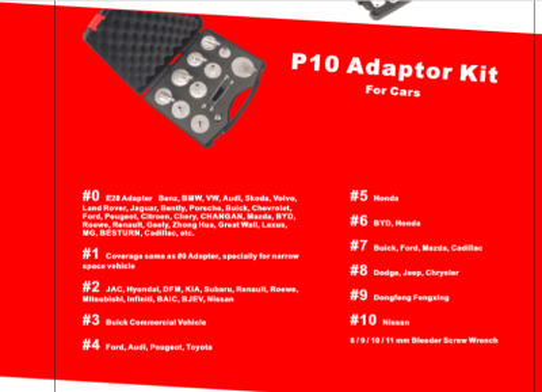 Adapter-Satz P10 für Bremsentlüftungsgerät RP-AD-1000 RP-TOOLS